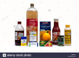 household products display of household items containing acids including vinegar
