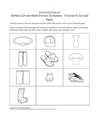 clothes cut and paste picture dictionary a short book to print