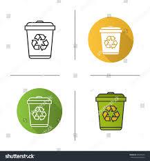 recycle bin icon flat design linear stock vector 606855470