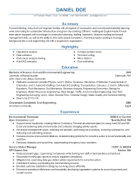 Civil Engineering Student Resume Resume Of Environmental Engineer Resume For Your Job Application