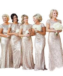 women sparkly rose gold long sequins bridesmaid dress prom evening