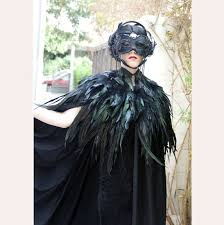 Black Raven Halloween Costume Black Cape Long U0026 Regular Rooster Feathers Eilasan