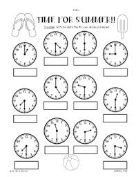 summer telling time practice worksheet pack hour half hour