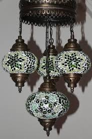 Turkish Chandelier Turkish Mosaic 4 Globe Chandelier Emerald Green Snazzy Bazaar