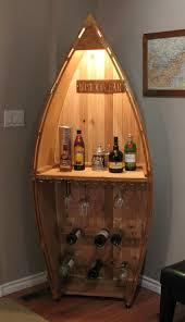 the boat bar cedar style canoe wine and liquor rack basement
