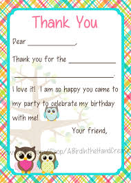 kids fill in the blank thank you cards for girls owl theme