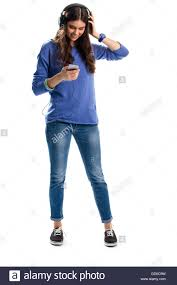 woman in headphones smiling lady in sweatshirt holds phone new