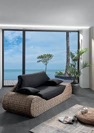 densité assise canapé canapé tahuata en rotin avec coussins d assise noir rembourrage