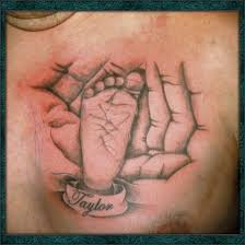 baby footprint in fathers inked baby