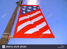 Flag Of Philadelphia Banner On Red Lamp Post South Street Downtown Philadelphia Stock