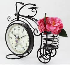 black wrought iron table clock european fashion creative small bicycle clock living room