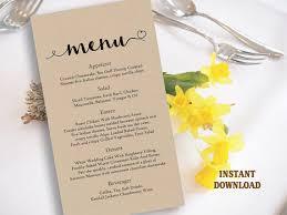 diy wedding menu cards burlap wedding menu template diy menu card template editable text