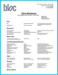 Commercial Acting Resume Sample Theatrical Resume Template