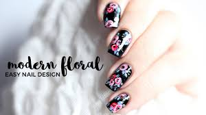 super easy modern floral nail art annabel lee youtube