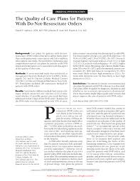the quality of care plans for patients with do not resuscitate