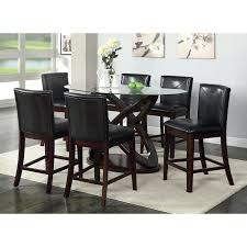 Glass Top Dining Table Set by Furniture Of America Ollivander 7 Piece Counter Height Glass Top