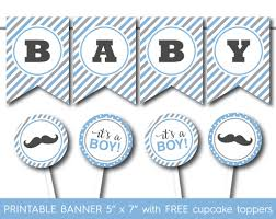 grey and blue little man mustache baby shower banner with free its