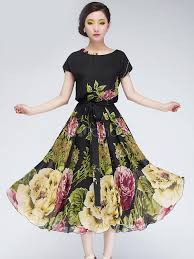 flower dress black floral print chiffon maxi dress milanoo