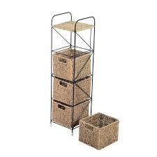 Narrow Storage Shelves by Interior Tall Narrow Iron Storage Shelves With Wicker Basket