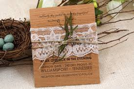 wood wedding invitations wood wedding invitation with lace belly band