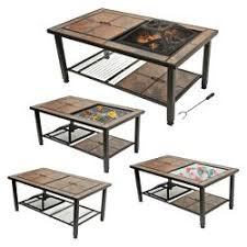 patio table with removable tiles leisurelife 4 in 1 woodburning firepit coffee table grill cooler