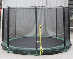 super jumper inground 12 u0027 round trampoline with safety enclosure