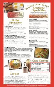 menu cozy diner paradise
