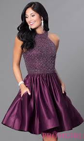 short eggplant purple satin homecoming dress promgirl