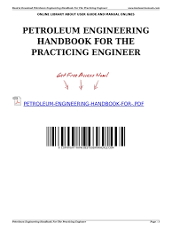 petroleum engineering handbook for the practicing engineer e