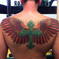 powerline tattoos part back cross with wings