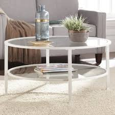 round glass cocktail table glass round coffee tables you ll love wayfair