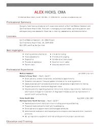 Medical Resume Examples by Resume For Medical Jobs Medical Assistant Job Description For