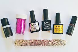 diy tutorial glitter gel manicure rock n roll bride