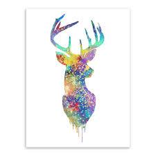 aliexpress com buy triptych watercolor deer head a4 poster print