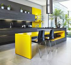 Black Kitchen Island Furniture Stunning Yellow Black Kitchen With Rectangle Black