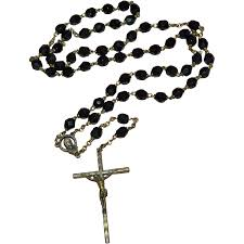 rosary necklace bronze crucifix cross black glass bead rosary necklace