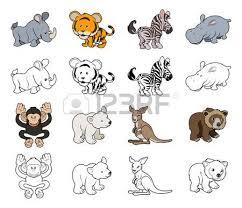 a set of cartoon safari animal illustrations color and black