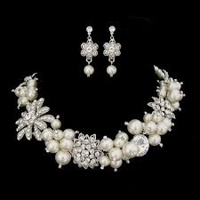 bridal pearl necklace sets images Pearl crystal bridal necklace set bridal pearl necklace earring jpg