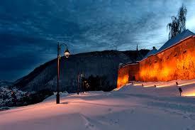winter winter lanterns time town splendor mountains nature snow