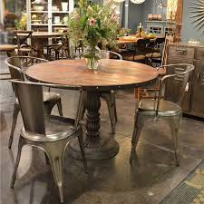 industrial dining room table french soda fountain round table 47 industrial dining room