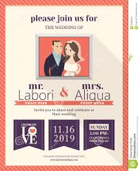 Groom And Groom Wedding Card Wedding Invitation Card Template With Cute Groom And Bride Stock