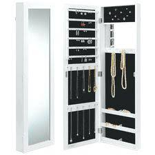 Hayworth Jewelry Armoire White Armoires Wardrobe Space Saving Hanging Jewelry Airmore With