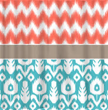Coral And Turquoise Curtains Custom Ikat Chevron Shower Curtain Any Color Shown Coral Chev