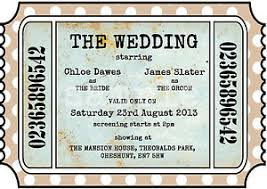 ticket wedding invitations personalised vintage theatre cinema ticket wedding invitations