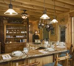 inspirational log cabin style decor idea plus stone fireplace for