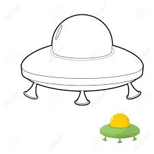 ufo coloring book illustration of an alien space transport