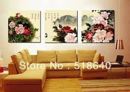 Chinese Home Decor 3 Panel Romantic Canvas Sweet Love Red Rose Flower Painting