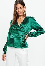 green silk blouse green tops s green tops missguided