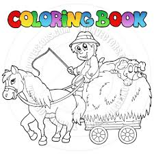 cartoon coloring book farmer and horse cart by clairev toon