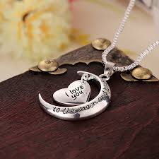 love star necklace images Beautiful design silver moon star pendant necklace i love you in jpg
